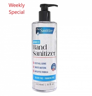 Pro Sanitize Hand Sanitizer Gel, 8oz Pump Bottle, MADE IN USA