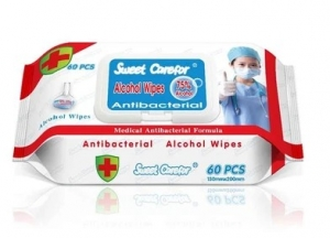 CareFor Disinfecting/Sanitizing Wipes, 75% Alcohol, 60 Wipes / Pack