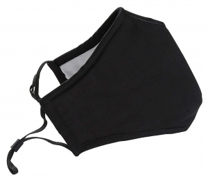 Cotton Face Mask with Adjustable Earloops and Filter Pocket, Black